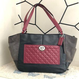 Coach Park Carrie Burgundy Quilted Leather Tote